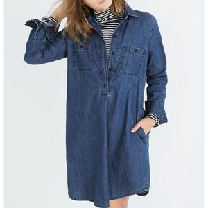 Madewell denim popover shirt dress blue jean xs